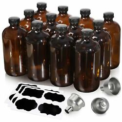 [ 12 Pack, 16 Oz ] Glass Amber Bottles With Black Poly Cone Cap And 3 Stainless...