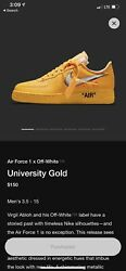 Off White Nike Air Force 1 University Gold Size 14 Shipped