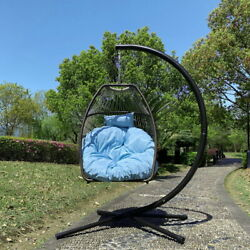 Patio Hanging Chair Wicker Folding Egg Chair Seat Swing With Cushion And Pillow