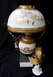 Victorian Bradley Hubbard Electric Hanging Parlor Prism Oil Lamp Ceiling Light