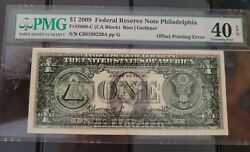 United States 2009 One Dollar Banknote Error Offset Printing Front To Back