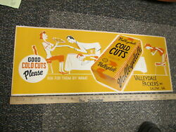 Valleydale 1950s Cold Cut Lunch Meat Grocery Store Display Trolley Sign Salem Va