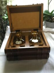 Vintage Hidden Decanter Set Antique Decanters,leather Wrapped Wooden Book Box