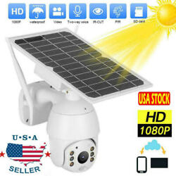 Wifi Ip Ptz Camera 1080p Hd Solar Power Home Security Cctv Night Vision Dome Us