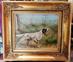 Antique Hunting Dog Oil Painting Coeval Wood Frame J.califano Signed 19th Decor