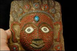 Old Tibetan Nepal Coral Turquoise Glass Jeweled Face Shape Mask D131-13