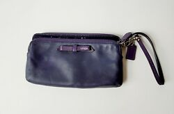 Coach Leather Wristlet Purple small damage on front and bottom preowned $11.40