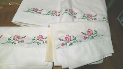 Vintage Hand Embroidered 2 Pillowcases And 1 Flat Bed Sheet As Is Pink Flowers