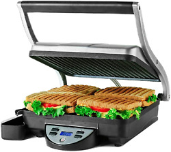 4 Slice Electric Indoor Panini Press Grill With Non-stick Double Flat Cast Iron