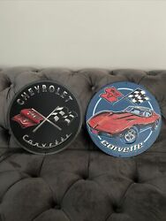 2 Chevrolet Corvette Wall Decor Gm Licensed Open Road Signs Man Cave Cars