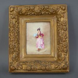 Laure Levy 1866-1954 French Hand Painted Porcelain Plaque Of Women Framed