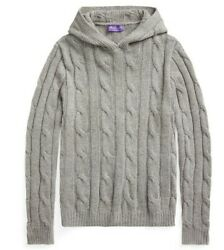 Purple Label Mens Grey Cable Knit Cashmere Hoodie Sweater 1,495