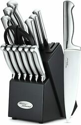 14-piece Kitchen Cutlery Knife Set With Block Built-in Sharpener Stainless Steel