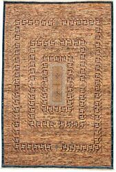 Brown Hand-knotted Oriental Carpet 6and0396 X 9and0396 Modern Wool Area Rug