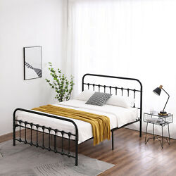 Metal Bed Frame Full Farmhouse Black Iron Vintage Rustic Modern Country Style