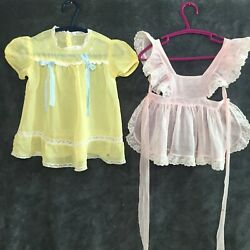 Lot Of 2 Antique Vintage Baby Girls Pink Yellow Lace Pinafore Dress 12mos