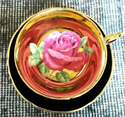 Paragon Black Teacup And Saucer Floating Red Cabbage Rose On Heavy Gold Bowl
