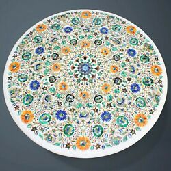 Marquetry Art Dining Table Top Round White Marble Patio Table For Decor 42 Inch