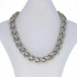 John Hardy Braided Classic Chain Diamond Pave Clasp Necklace Sterling 18 925
