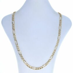 Yellow Gold Diamond Cut Figaro Chain Menand039s Necklace 22 3/4 - 14k Lobster Clasp