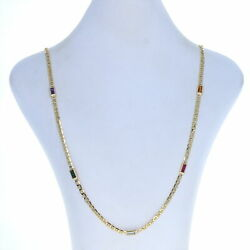 Yellow Gold Synthetic Gemstone Anchor Chain Necklace 29.75 14k Baguette 6.75ctw