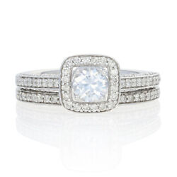 New Semi-mount Engagement Ring And Wedding Band - 14k White Gold 1.47ctw