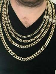 1 Ct Round Sim Diamond Menand039s Cuban Link Chain Set From 8mm To 14mm Thick