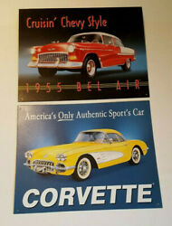 2 Vintage Metal Chevrolet Signs 58 Corvette And 55 Bel Air Both 11 X 16 Usa