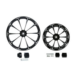 Black 21/23/26/30 Front + 18and039and039 Rear Wheel Rim Hub Fit For Harley Touring 08-21