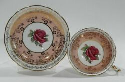 Paragon Pink Rose And Golden Rococo Pattern Tea Cup And Saucer Vintage