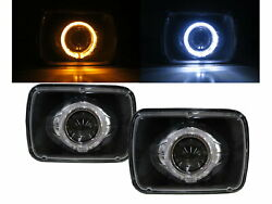 R3500 89-91 Pickup 4d Guide Led Angel-eye Projector Headlight Bk For Chevy Lhd