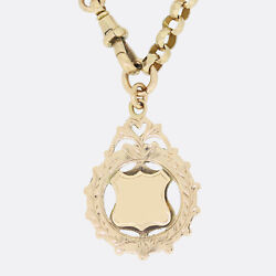 Gold Charm Necklace - Vintage Fob Charm Necklace 9ct Yellow Gold
