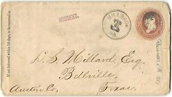 Millbach Pa To Bellville Tx, Missent, 1886, Anville Pa, Richland Station Pa