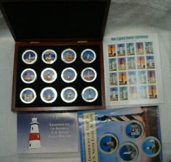 Lighthouses Of America 12x1oz 999 American Silver Eagles 2003 2004 +stamp Sheet