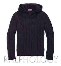 Purple Label Mens Navy Cable Knit Cashmere Hoodie Sweater 1,495