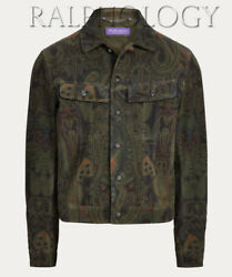 Purple Label Clifton Suede Leather Paisley Trucker Jacket 3,995