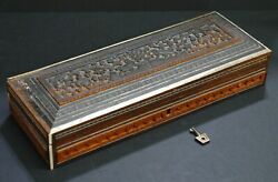 Fine Antique Anglo-indian Hand Carved Wooden Jewelry Box