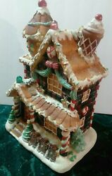 Mark Roberts Fiber Optic Gingerbread House 15 With Christmas Candy Rare And Large