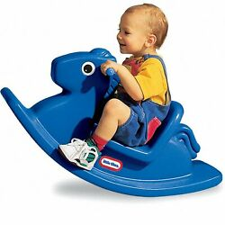 New Kids Rocking Horse Classic Ride On Toy For Toddlers For Easy Transport Blue