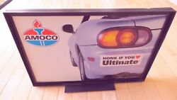 Vintage Original Amoco Gas Pump Double Sided Topper Sign - Good Condition