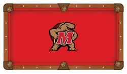 Maryland Terrapins Hbs Red With Multi-color Logo Billiard Pool Table Cloth