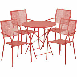 30in Round Metal Folding Patio Table Set With 4 Square Back Chairs Coral