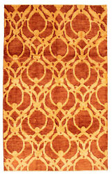 Vintage Geometric Hand-knotted Carpet 5and03910 X 9and0393 Traditional Wool Area Rug