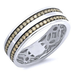 Mens 0.86ct 14k White Gold Real Champagne Diamond Wedding Band Engagement Ring