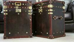 Antique Handmade English Leather Pair Of Occasional Side Table Trunks