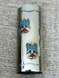 Vintage Western Lighter Sleeve Turquoise And Coral Thunderbirds Cover Fits Bic