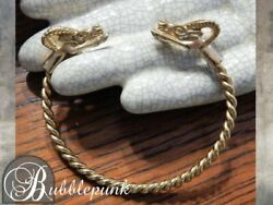 Vintage Etruscan Style Figural Ramand039s Head Twisted Open Cuff Bangle Bracelet