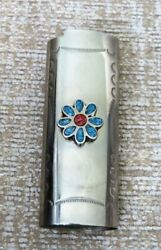 Vintage Turquoise And Coral Inlay Flower Lighter Sleeve Cover Holder Fits Bic