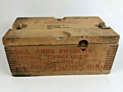 Vintage Remington Arms Co. Primer Wooden Ammo Box Crate Small Arms W/ Lid