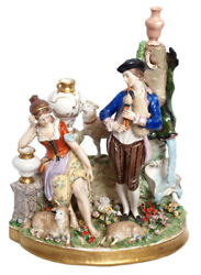 Antique Germany Dresden Sitzendorf Musician And Lady Large Porcelain Figural Group